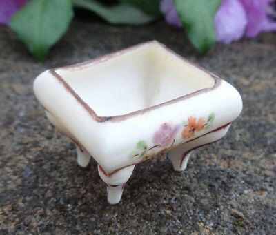 Tiny, Handpainted Bisque, Footed Porcelain Open Salt Dip, Cellar, Dish w/Flowers