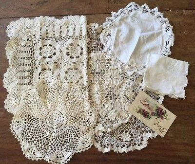Vintage Estate Bulk Collectable 6 X Crochet Lace Doiley Table Vanity Lot 1