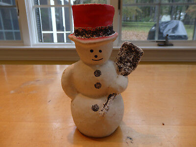 Vintage Paper Mache Snowman with Red Hat and Glitter