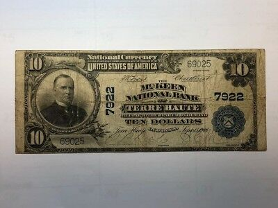 1902 $10 national currency Bank Note McKeen National Terre Haute IN  VG  BDP10