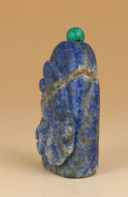 Collect Lapis lazuli natural stone hand carving Gold fish statue Snuff Bottle