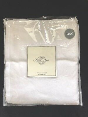 Sferra Chalet Premium Blanket 100/% Brushed Cotton Queen or King White New