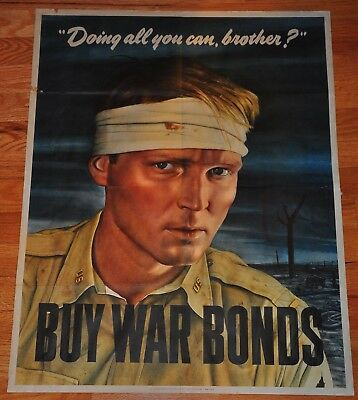 1943 World War 2 Buy War Bond Poster Wounded Soldier