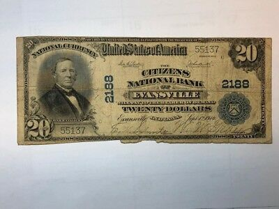 1902 $20 CITIZENS NATIONAL BANK OF EVANSVILLE IN NATIONAL CURRENCY IN VG  bdp12