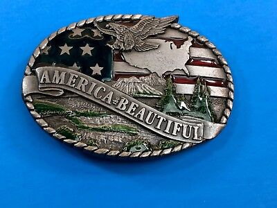 Vintage 1980's  America the Beautiful   Belt Buckle from Indiana Metal Craft