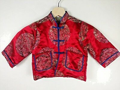 Child Toddler Chinese Asian Jacket Costume Top Red Embroidered Satin 2T 3T
