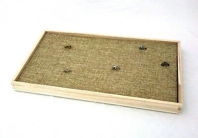 Natural Wood 72 Ring Display Tray With Burlap Topped Foam Insert