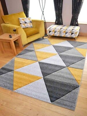 New Modern Thick Soft Grey Silver Gold Ochre Triangles Floor Mats Rugs Carpets