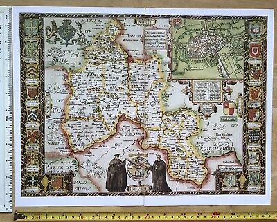 """Old Tudor map of Oxfordshire, Oxford, England John Speed 1600's 15"""" x 11 Reprint"""