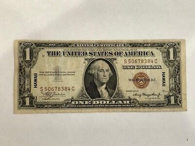 1935 A $1 DOLLAR WWII HAWAII SILVER CERTIFICATE BROWN SEAL NOTE in FINE  BDP25
