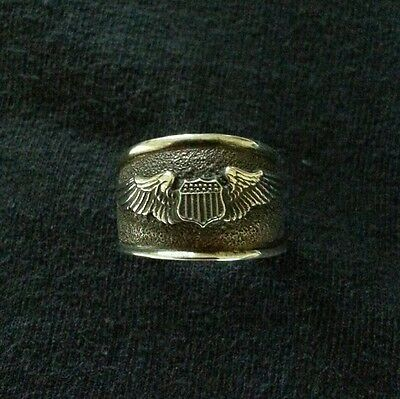 Wwii Usaaf/ Air Force Sterling Silver Pilot Wings Ring Sz. 7.5