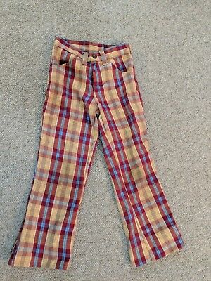 Vintage 70s Red & Yellow Plaid Pants Boys Bell Bottoms