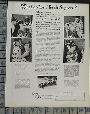 1926 Dental Medical Pebeco Toothpaste Theatre Acting Costume Clown Ad Cj4