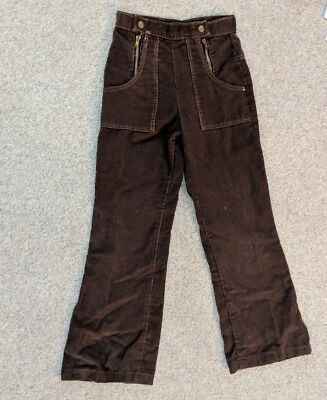 Vintage 70s Brown Cordouroy Pants Bell Bottom Flair Double snap zipper