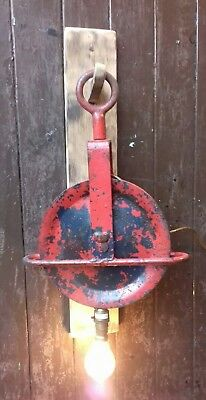 Cast Iron Pulley Wall Lamp With Oak Back. Industrial Antique. Man Cave