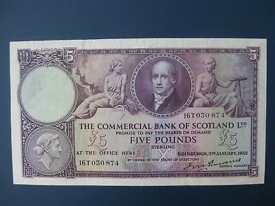 Pretty 1952 Commercial Bank Of Scotland £5 Banknote Crisp Vf