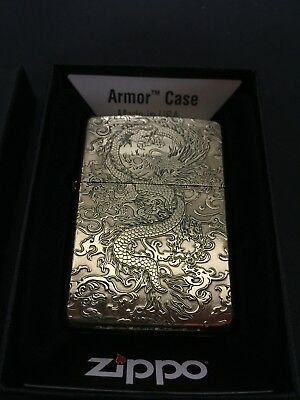 Zippo Asiatic Dragon 5-Side Armor Brass Zippo Lighter-Japan