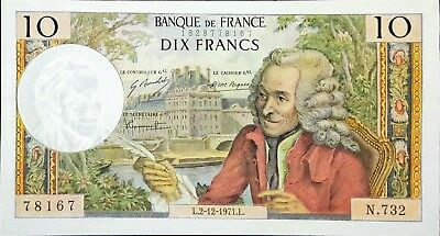 France, French Banknote 10 Francs 1971 P-147 AU condition