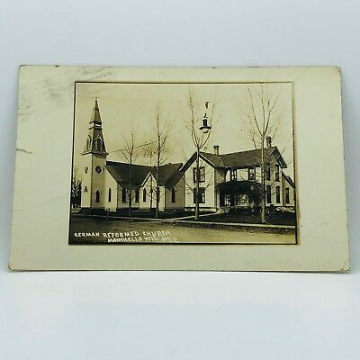 Postcard Wisconsin 1913 RPPC Real Picture German Reformed Church Monticello B-29