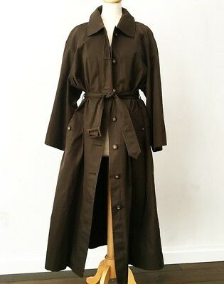 Chanel Classic braun Baumwolle Belted Trench Coat mit CC Logo Buttons (42)