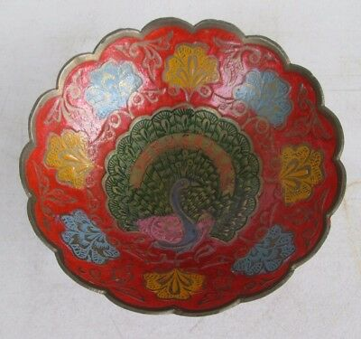Vintage Jerusalem Solid Cast Brass Painted Enamel Peacock Small Bowl