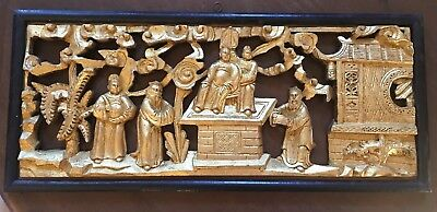 "Antique Chinese Carved Gilt Wood 官人figures Scenes 20"" Long Framed"