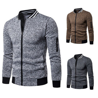Mens Jacket Baseball Uniform Zipper Tops Coat Long Sleeve Casual Cotton Blend