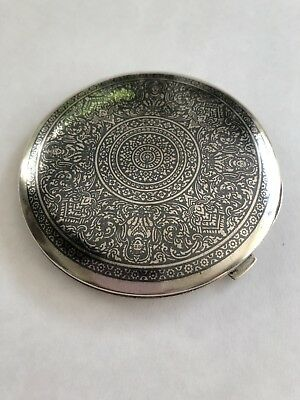 Vintage Sterling Silver 925 Mirror Compact 92.6 Gm