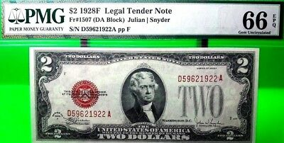 Money Us $2 1928 F Legal Tender Note Pmg Gem Unc Fr 1507 Red Seal Value $680
