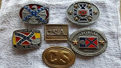 Lot of 6 Confederate Belt Buckles, CSA, CS, Southern Cross, Georgia, Eagle
