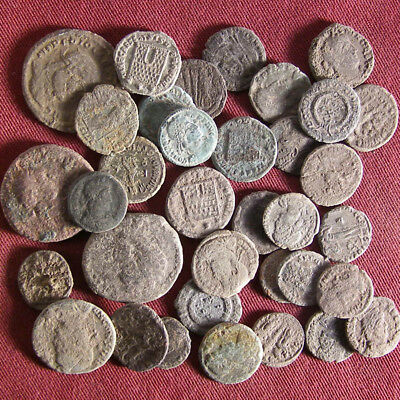 Lot of 35 Uncleaned/ Semi- cleaned Late Roman Bronze Coin