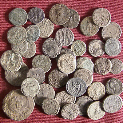 Lot of 40 Uncleaned/ Semi- cleaned Late Roman Bronze Coin