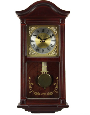 Bedford Clock  Mahogany Cherry Wood 22 Wall Clock with Pendulum and Chimes   (R)