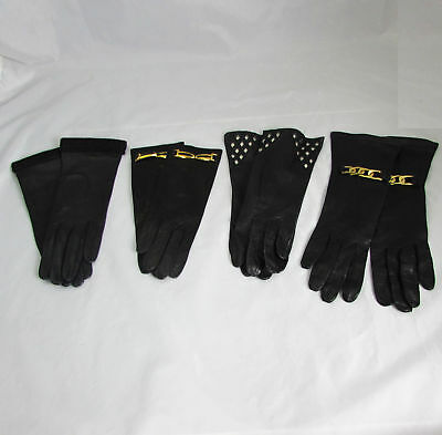 4 Pair of High Quality Italian Black Kid Leather Driving Gloves Sz 6.5 Small