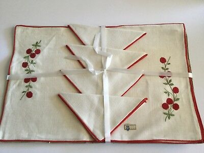Vintage Belgian Linen Placemat Napkin Set of 4 Embroidered Cherries Very Mary E