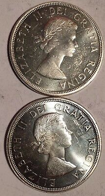 Lot of (2) 1964 CANADIAN DOLLARS - CHARLOTTETOWN QUEBEC - 80% SILVER -See Pics