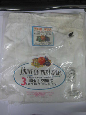 Vtg 50s 60s White Fruit of the Loom Mens Vintage 2 pair Broadcloth NOS Boxers
