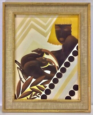 Lively Vintage William Hentschel Pochoir, Art Deco Woman with Gazelles, c. 1930s