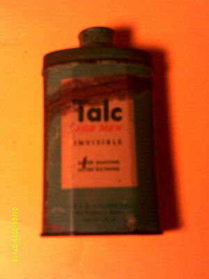 Talc for men invisible talcum bath powder tin vintage J.B. Williams guest size