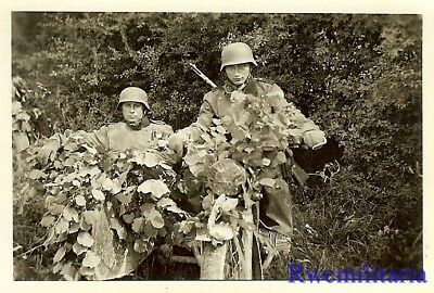 **BEST! Wehrmacht Kradmelder in Riding Gear on Foliage Covered Motorcycle!!!**