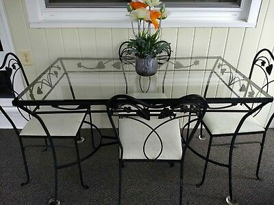 Vintage Wrought Iron Glass Top Patio Table w/ Chairs -Salterini??EC!