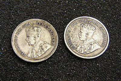 Canada Silver 5cent Coins----Lot of Two coins-----1920 and 1913