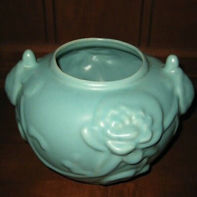 RUMRILL Red Wing ART Pottery ~ K5 ~ Lilypads & Turtles Matte Green NEAR MINT
