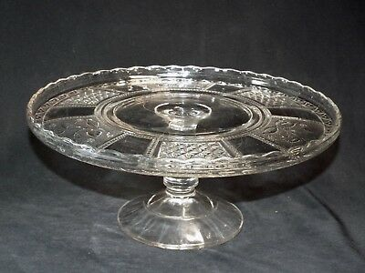 c1891 EAPG Bryce Brothers Glass Co Paneled Forget Me Not Pedestal Cake Stand Rim