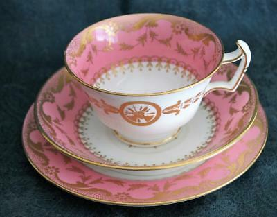 Antique Minton Pink & Gold Porcelain Trio. C1912+ ~ English ~