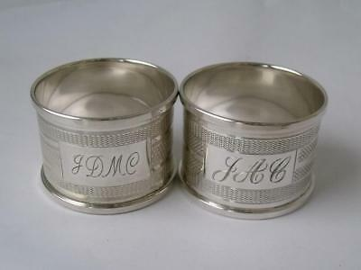 2 Similar Solid Sterling Silver Napkin Rings: English Hallmarks/ H 3 cm
