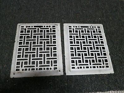 2 Cast Iron grate/vent COVERS craftsman wall raised matching pair