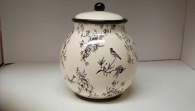 Biscotti Jar With Black Birds Branches And Leaves