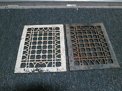 2 Cast Iron grate/vent COVERS wall floor matching pair