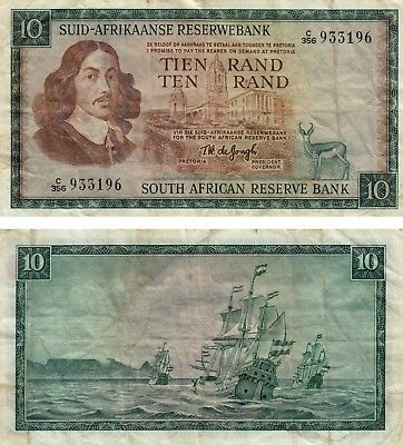 South Africa 10 Rand Banknote Currency 1967 / 75 Fine+ ! Free Shipping